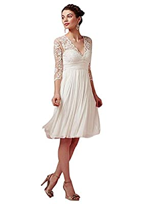 Fabric: Lace and Chiffon of high quality V Neck, 3/4 Legnth Illusion Sleeve, Knee Length , Zipper Closure, Embroidery, Lace If you want to order the dress in Custom Made size or/and style, please place an order with the size closest to your measureme...
