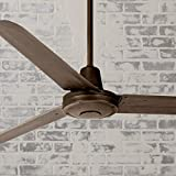60' Turbina Modern Industrial Outdoor Ceiling Fan Remote Control Oil Rubbed Bronze Damp Rated for Patio Porch - Casa Vieja