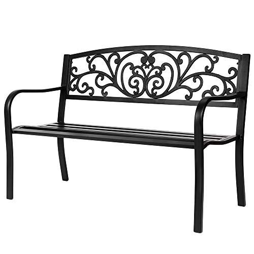 VINGLI 50' Patio Park Garden Bench Outdoor Metal Benches,Cast Iron...