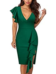 Please refer to the size guide in left product description image. The material is stretchy. It is recommended to choose a size smaller if you would like to be figure flattering. Curvy fitting, sexy deep v-neck highlights chest area, split shows leg w...