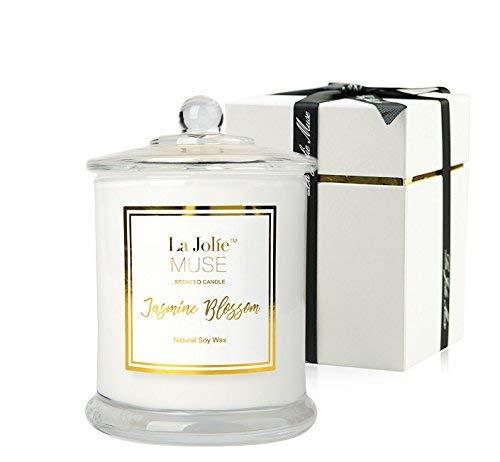 La Jolíe Muse Jasmin-Duftkerze, Geschenk für Frauen, natürliches Soja-Wachs, 65 Stunden brennender feiner Wohlgeruch, Glaskerzen