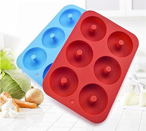 TONGDA Molde para Donut de Silicona Juego de 2 Molde6 Cavidades Antiadherentes,Antiadherente Molde de Silicona Apto para Lavavajillas,para Hacer Galletas,Pasteles,Microondas