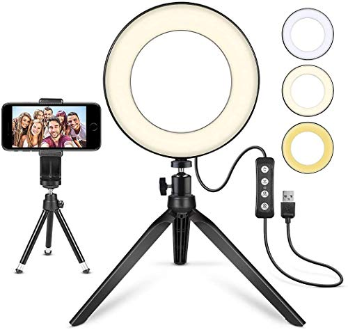 LED Ring Light 6' with Tripod Stand for YouTube Video and Makeup, Mini...