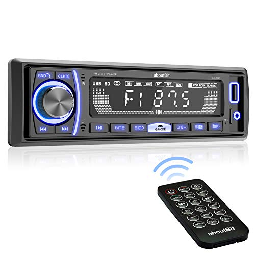 Mechless Multimedia Car Stereo - aboutBit Single Din LCD Car Radio,Bluetooth Audio Calling,Built-in Microphone,FLAC/MP3,RGB Light,Aux-in,AM FM Radio Receiver