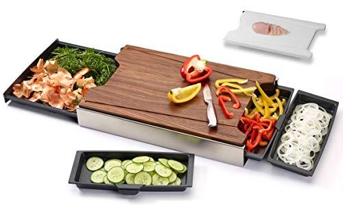Schneidbox Nussbaum - Schneidebrett Mit 4 Auffangschalen Im Edelstahlkasten Inkl. Wechselbrett - Patentiertes Trennsystem - Made In Germany