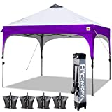 ABCCANOPY Canopy Tent 10x10 Pop Up Canopy Outdoor Canopies Portable Tent Popup Beach Canopy Shade Canopy Tent with Wheeled Backpack Bag Bonus 4Weight Bags, 4Ropes and 4Stakes, Gray and Purple