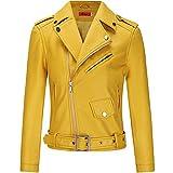 BOMBAX Womens Slim Leather Motorcycle Jacket Blazer Short Bike Coat with Pocket Fall (Yellow, Large)