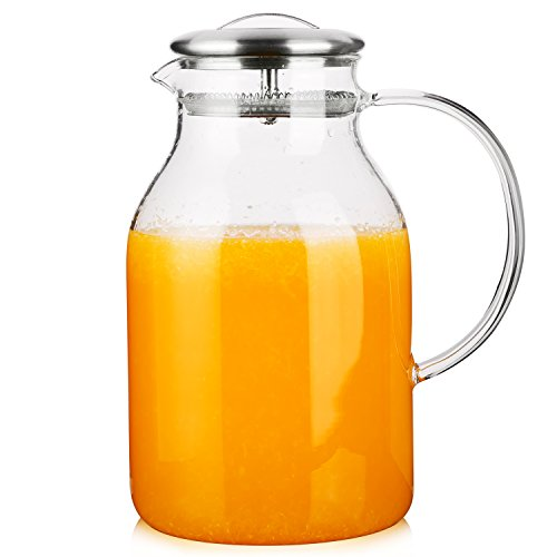 Hiware 68 Ounces Glass Pitcher with Lid and Spout - High Heat Resistance Stovetop Safe Pitcher for Hot/Cold Water & Iced Tea