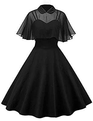 PLS read the size chart in the product description on the left 65%Rayon,30% Cotton, 5% Spandex A gorgeous dress in 1950s vintage,Chiffon Cloak,Two-pieces Desgin,You can wear without cloak,Natural waistline that creates a vintage silhouette .The fabri...