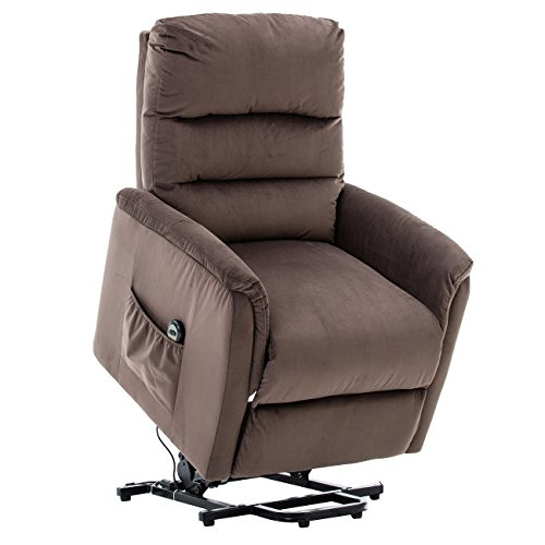 BONZY Contemporary Power Lift Chair Soft and Warm Fabric with Remote Control for Gentle Motor, Slate Gray