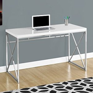 Monarch Specialties Computer Contemporary Home & Office Desk - Scratch-Resistant, 48' L, White