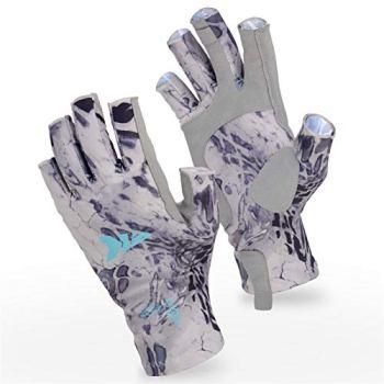 KastKing Sol Armis Sun Gloves UPF50+ Fishing Gloves UV Protection Gloves Sun Protection Gloves Men Women for Outdoor, Kayaking, Rowing,Silver Mist Prym1,Large - X-Large