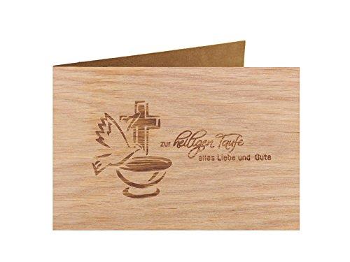 Holzgrußkarte - Taufe, Baby, Geburt - 100{6a80c9a9e58bd9d37de6b0055ea4fcc2b09fb4c84480145b4bf8c7e8d62ecc84} handmade in Österreich - Postkarte Glückwunschkarte Geschenkkarte Grußkarte Klappkarte Karte Einladung, Motiv:ZUR HEILIGEN TAUFE