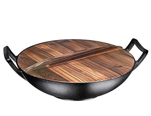 Bruntmor, Wok aus Gusseisen, bereits eingebrannt, 35,6 cm, mit großen Schlaufengriffen und flachem Boden mit Holzdeckel