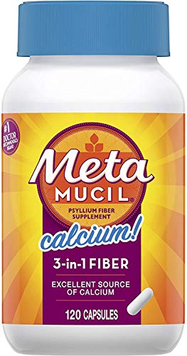 Metamucil Fiber with Calcium, 3-in-1 Psyllium Capsule Fiber Supplement with Calcium for Bone Health, 120 ct Capsules