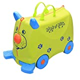 COLOR TREE Kid's Ride On Roll Suitcase Travel Luggage & Storage Bag,Carry-On Luggage Stroller,Green