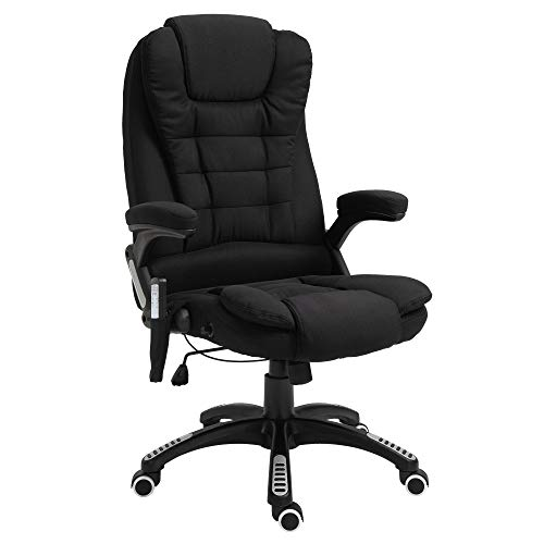 Vinsetto Ergonomic Vibrating Office Chair with 6 Point Massage and Heating, Adjustable Recline and Height, Black
