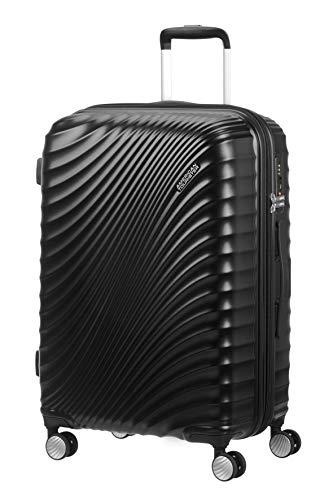 American Tourister Jetglam - Spinner M Espandibile Valigia, 67 cm, 77.5 litri, Nero (Metallic Black)