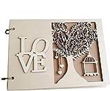 LQKYWNA Livre d'or rustique en bois pour mariage, fiançailles, scrapbooking,...