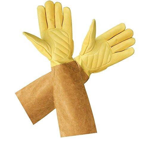 Rosenhandschuhe für Damen und Herren Gartenhandschuhe aus Ziegenleder mit langem Rindsleder zum Schutz der Arme bis zum Ellenbogen, M - Length:45cm; Palm Width: 19-20cm, 2