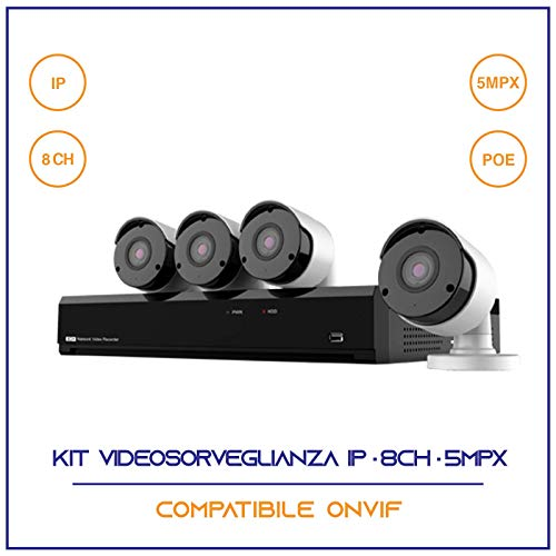 KIT VIDEOSORVEGLIANZA IP POE NVR 8 CANALI 4 TELECAMERE IP 5 MPX H265 CLOUD