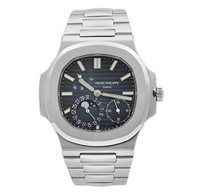 Patek Philippe Nautilus Moon Phase Blue Striped Dial Steel Watch 5712/1A-001