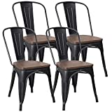 JUMMICO Metal Dining Chair Stackable Industrial Vintage Kitchen Chairs Indoor-Outdoor Bistro Cafe Side Chairs with Back and Wooden Seat Set of 4 (Black)