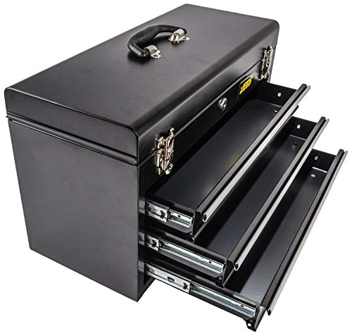 Product Image 4: JEGS 3-Drawer Portable Toolbox   Ball-Bearing Drawer Slides   Rust-Resistant Latches   Black Powder Coat Finish   Includes Lock and Keys