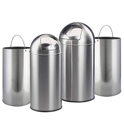Ribelli 2er Mülleimer-Set 38 & 28 Liter, Abfalleimer hygienische Push-Klappe, Mülltonne rostfreier Edelstahl & Zink Inneneimer