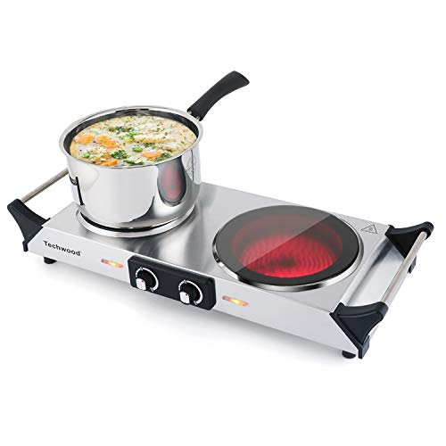 Techwood Hot Plate Electric Double Burner Ceramic Infrared Portable Electric Stove 1800W Adjustable Temperature, Stay CoolHandles, Non-Slip Rubber Feet, Stainless Steel Easy Clean, Upgraded Version