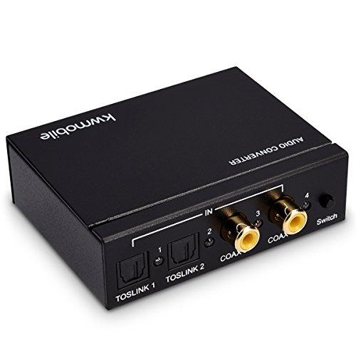 kwmobile Digital zu Analog Audio Converter - 2X Toslink 2X Cinch zu Toslink RCA Klinke - auch als 4-Port Audio Switch nutzbar - DAC Adapter Umschalter