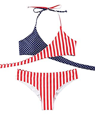 Halter Bikini Top: Not full coverage, Perfect for small chest customer, Adjustable halter strap, Push-up padded bra, Front cross swimwear for better curves; Cheeky Bikini Bottom: Scrunch cheeky Brazilian tanga with less coverage, Stars and stripes pr...