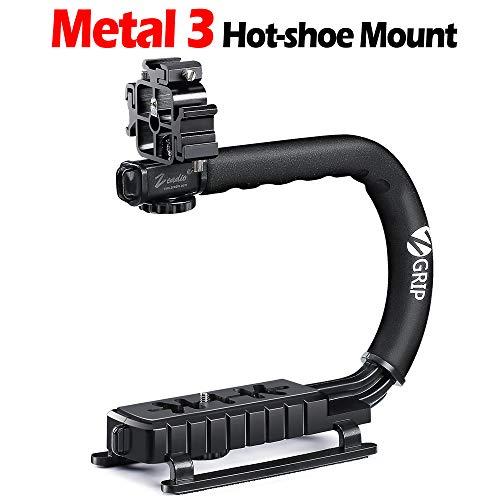 Zeadio Stabilizzatore portatile con Hot-shoe triplicarsi per Canon Nikon Sony Panasonic Pentax Olympus DSLR Videocamera Telecamera Fotocamera