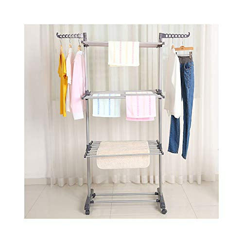 Bigzzia Clothes Drying Rack, 3-Tier Collapsible, Rolling, Stainless...