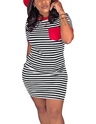 Material: polyester+cotton+spandex. Soft, breathable, skin-friendly, comfortable to wear. Features: Tshirt dresses for women, stripe print, round neck, above knee length, one chest pocket, striped tshirt dress, slim fit. Stripes print design enhance ...