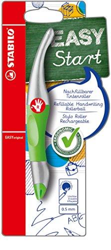 Ergonomischer Tintenroller für Rechtshänder - STABILO EASYoriginal metallic in neongrün/metallic - Einzelstift - Schreibfarbe blau (löschbar) - inklusive Patrone