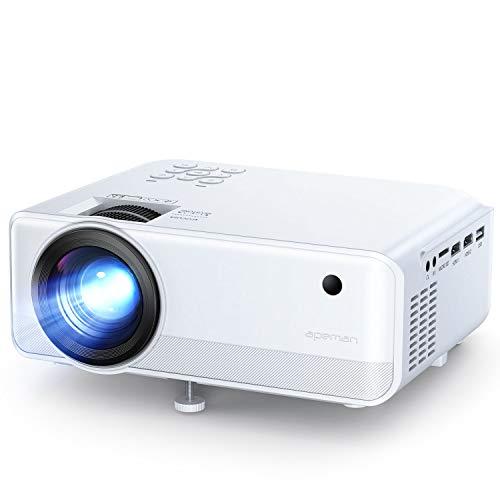 Proiettore APEMAN Portatile Videoproiettore, Supporto 1080P,6000 Lumen LED Doppi Altoparlanti...