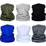 6 Pieces Summer Face Cover UV Protection Neck Gaiter Scarf Sunscreen Breathable Bandana (Adult Size)