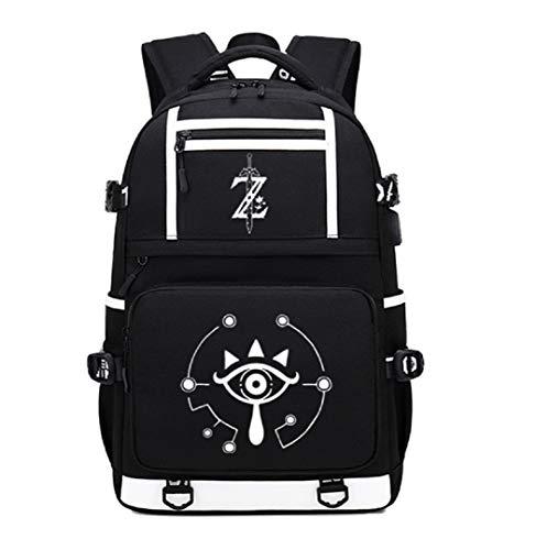 GO2COSY - Mochila luminosa con puerto de carga USB para estudiante, diseño de leyenda de Zelda.