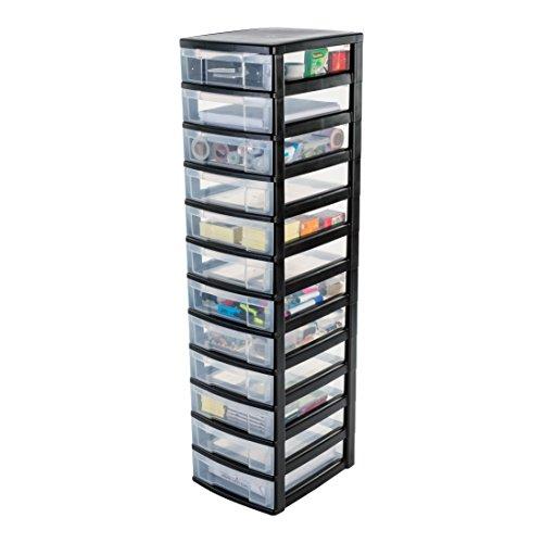 IRIS, Schubladenschrank / Schubladenbox / Rollwagen / Rollcontainer / Werkzeugschrank \'New Chest\', NMC-012, mit Rollen, Kunststoff, schwarz / transparent BxTxH: 30 x 38 x 125.5 cm