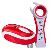Tornado F4 Red Can Opener & Topper Set - New and Improved - Safest, Fastest, Easiest Hands-Free Can, Bottle, Jar Opener Set.