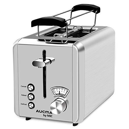 Toaster 2 Scheiben 825 W Brötchenaufsatz Testsieger Edelstahl 6 Einstellbare Bräunungsstufen 3 Funktionen Abbrechen/Aufwärmen/Auftauen Brot Toaster High-Lift, Silber