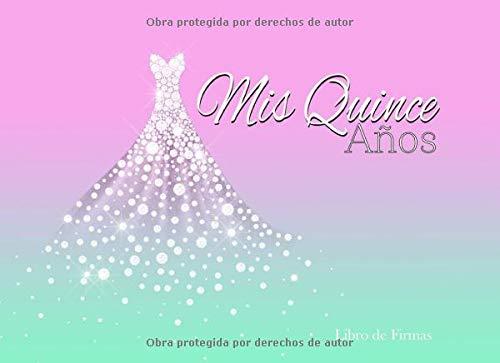 Mis Quince Años Libro de Firmas: Libro de Quinceanera con Vestido de Diamantes Morado y Auzl 130 Páginas y Registro de Regalos