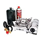 Gas One Camp Stove - Propane & Butane GS-800P Mini Dual Fuel Stainless Portable Propane & Butane Camping Stove Burner with piezo Ignition and Carrying Case (Stove)
