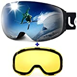 LEMEGO Ski Goggles - Frameless Exclusive 90S Anti-Fog Interchangeable Lens 100% UV400 Protection 10 Magnetic Snow Snowboard Goggles Helmet Compatible for Men & Women (2 Lens Set)