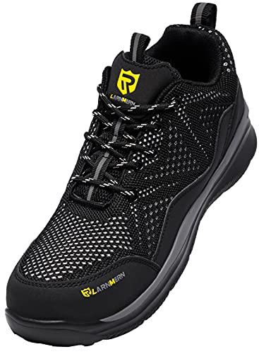 LARNMERN PLUS Zapatos de Seguridad Hombre Ligeros, Zapatillas de Seguridad Hombre Trabajo Comodos Punta Acero Calzado Seguridad Deportivo Antideslizante Antiperforación Verano(Negro,42EU)