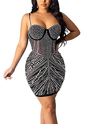 Material: This Women Shiny Dress Is Made of Polyester and Rhinestone. Soft and Comfortable to Wear. Design: Spaghetti Strap, Sleeveless, Backless, Shiny Diamond Decor, Hot Drilling Process, Pearl Decor, Slim Fit, Sexy Bodycon Dress, Ladies Party Club...