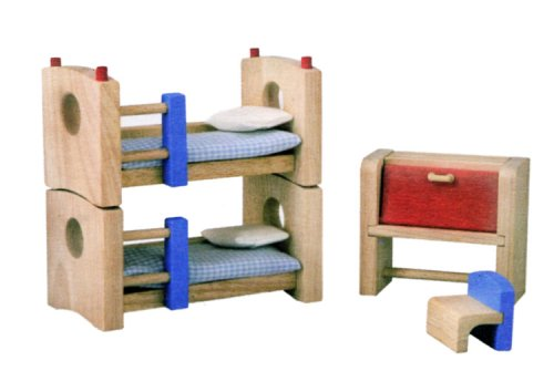PlanToys Neo Line of Wooden Dollhouse Furniture - Children's Room (7304) | Sustainably Made from Rubberwood and Non-Toxic Paints and Dyes