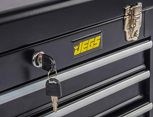 Product Image 5: JEGS 3-Drawer Portable Toolbox   Ball-Bearing Drawer Slides   Rust-Resistant Latches   Black Powder Coat Finish   Includes Lock and Keys