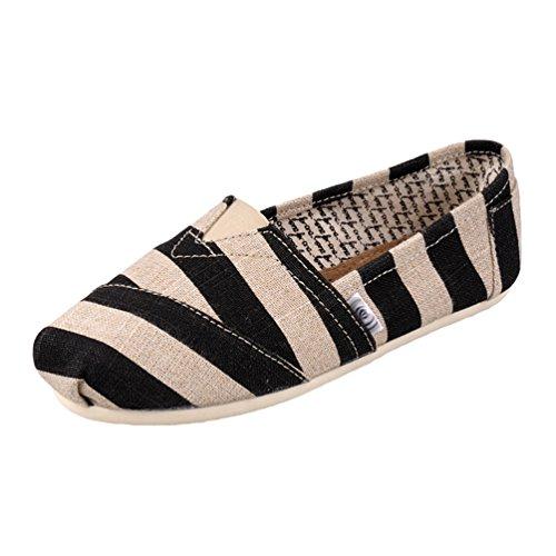 Dooxii Unisex Hombre Mujer Ocasionales Antideslizante Loafer Zapatos Moda Rayas Planos Alpargatas Negro 37(23.5cm)